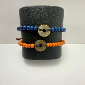 Two beaded coin bracelets